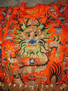 Stunning Chinese Silk Gold Thread Embroidered Dragon Kimono Robe Wall Hanging - 1550180