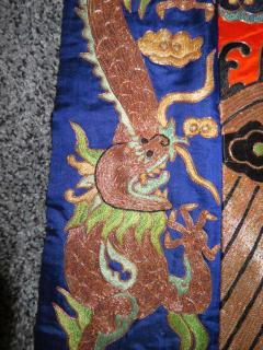 Stunning Chinese Silk Gold Thread Embroidered Dragon Kimono Robe Wall Hanging - 1550185