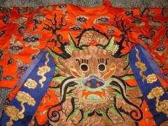 Stunning Chinese Silk Gold Thread Embroidered Dragon Kimono Robe Wall Hanging - 1550187