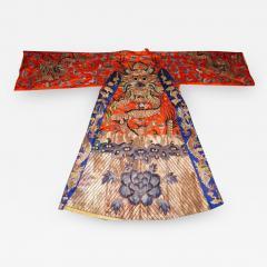 Stunning Chinese Silk Gold Thread Embroidered Dragon Kimono Robe Wall Hanging - 1551382