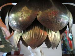 Stunning Etched Brass Feldman Lotus Pendant Light Chandelier Mid Century Modern - 1612891