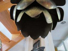 Stunning Etched Brass Feldman Lotus Pendant Light Chandelier Mid Century Modern - 1612902