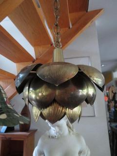 Stunning Etched Brass Feldman Lotus Pendant Light Chandelier Mid Century Modern - 1612905