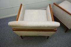 Stunning Pair of American Mid Century Modern Walnut Lounge Chairs - 1796236