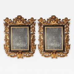 Stunning Pair of Carved Italian Giltwood Mirrors 17th Century - 633517