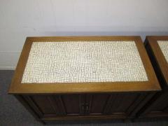 Stunning Pair of Mosaic Top Mid Century Modern Nightstands - 1843424
