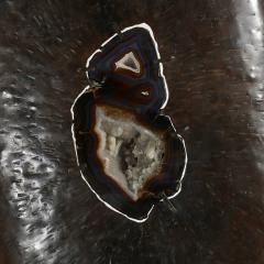 Stunning hammered iron and geode standing sculpture - 786523