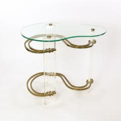 Stylish Kidney shaped Glass and Lucite Side Table with Brass Stretchers - 1950847