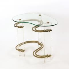 Stylish Kidney shaped Glass and Lucite Side Table with Brass Stretchers - 1950855