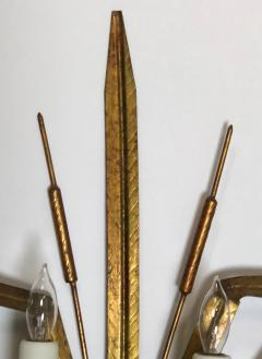 Stylish Pair of Italian 1960s Gilt tole 2 arm Cattail Wall Lights Sconces - 1373457