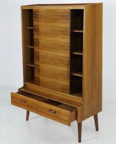 Stylish Scandinavian Modern Walnut Bookcase Cabinet - 2132576