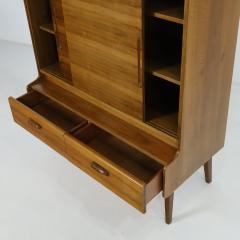 Stylish Scandinavian Modern Walnut Bookcase Cabinet - 2132578