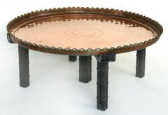 Substantial Copper Tray Table on Wood Stand - 1240361
