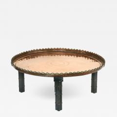 Substantial Copper Tray Table on Wood Stand - 1242158