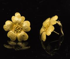 Sun Flower Earrings in 18 Kt Yellow Gold - 605961