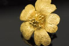 Sun Flower Earrings in 18 Kt Yellow Gold - 605962