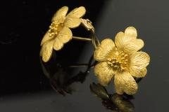Sun Flower Earrings in 18 Kt Yellow Gold - 605967