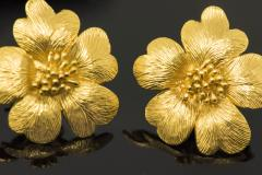 Sun Flower Earrings in 18 Kt Yellow Gold - 605968