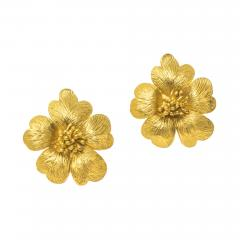 Sun Flower Earrings in 18 Kt Yellow Gold - 605972
