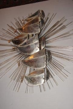 Sunburst Shaped Moderne Wall Sculpture Sconce - 658839