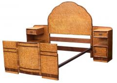 Superb 1930s Art Deco Maple Bed with Integral Cabinets - 962113