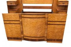 Superb 1930s Art Deco Maple Bed with Integral Cabinets - 962116