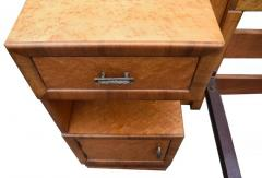 Superb 1930s Art Deco Maple Bed with Integral Cabinets - 962117
