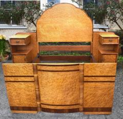 Superb 1930s Art Deco Maple Bed with Integral Cabinets - 962118
