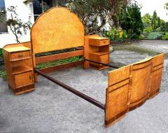 Superb 1930s Art Deco Maple Bed with Integral Cabinets - 962120