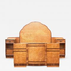 Superb 1930s Art Deco Maple Bed with Integral Cabinets - 962424