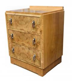 Superb Art Deco Bleached Blonde Walnut Chest of Three Drawers - 1028175