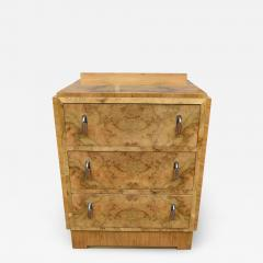 Superb Art Deco Bleached Blonde Walnut Chest of Three Drawers - 1029208