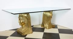 Superb Bronze Pharaoh Head Dining Table - 1116751