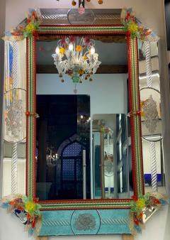 Superb Venetian Multicolor Murano Glass Mirror - 2057466