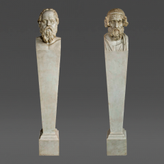 Superbly Carved Pair of Neoclassical Marble Terms - 36234