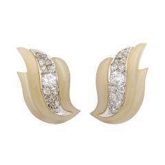 Suzanne Belperron Carved Agate Diamond Earrings by Suzanne Belperron - 1369431