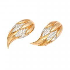Suzanne Belperron Pair of Diamond 18K Gold Flame Clips by Suzanne Belperron Circa 1940 - 86180