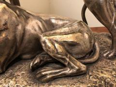 Suzanne Bizard Art Deco Greyhound Dogs Bronze Sculpture by S Bizard - 1386836