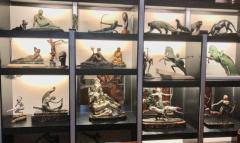 Suzanne Bizard Art Deco Greyhound Dogs Bronze Sculpture by S Bizard - 1386841