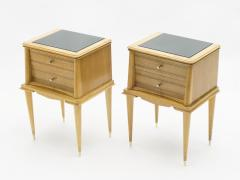 Suzanne Guiguichon French sycamore Night Stands 2 drawers Attr Suzanne Guiguichon 1950s - 1555215