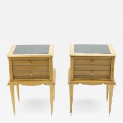 Suzanne Guiguichon French sycamore Night Stands 2 drawers Attr Suzanne Guiguichon 1950s - 1558057