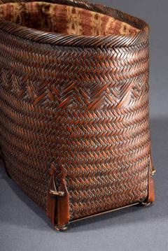 Suzuki Gengensai Japanese Hand Basket with Brocade Interior by Suzuki Gengensai - 1974534