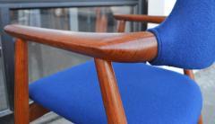 Svend Aage Eriksen Stunning Pair of Glostrup Armchairs w New Cobalt Blue Melton Wool - 2093799