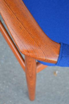 Svend Aage Eriksen Stunning Pair of Glostrup Armchairs w New Cobalt Blue Melton Wool - 2093804