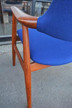 Svend Aage Eriksen Stunning Pair of Glostrup Armchairs w New Cobalt Blue Melton Wool - 2093815