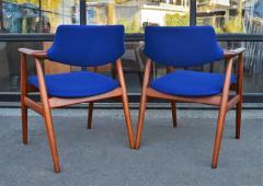 Svend Aage Eriksen Stunning Pair of Glostrup Armchairs w New Cobalt Blue Melton Wool - 2093821