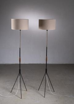 Svend Aage Holm S rensen Pair of Danish Modern height adjustable floor lamps - 2006393