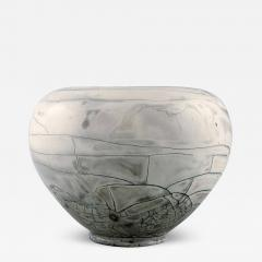 Svend Hammersh i Hammershoj Vase in glazed stoneware Beautiful gray black double glaze - 1363849