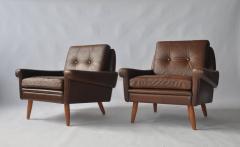 Svend Skipper Pair of Svend Skipper Leather Lounge Chairs - 394223