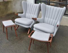 Svend Skipper Rare Pair Svend Skipper Restored Papa Bear Lounge Chairs Ottomans - 2061371